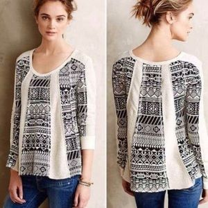 Anthro Lilka Cream & Black Aztec Print Sweater